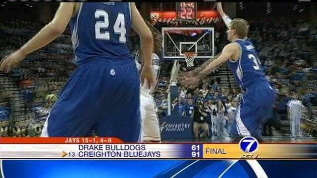 Ethan Wragge matched career highs with 22 points and six 3-pointers and No. 13 Creighton got off to a blistering start on its way to a 91-61 victory over Drake on Tuesday night.