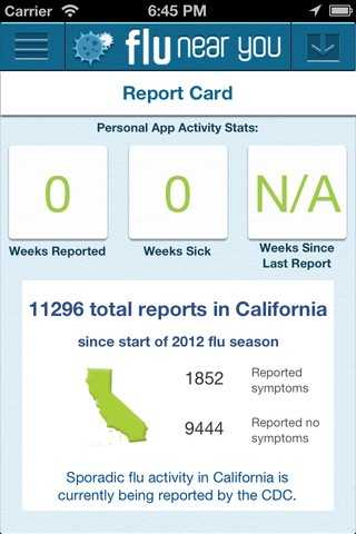 The Flu Near You app includes a report card for your area, including the number of people who have reported symptoms.