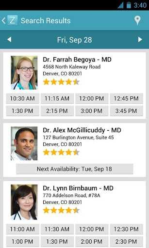 The ZocDoc app allows users to check available times for their preferred physicians.