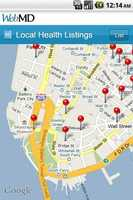 The app has local health listings using a Google Maps search.