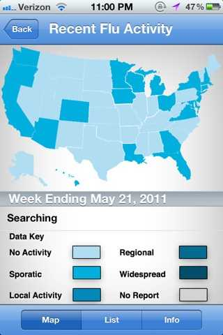 """The """"Recent Flu Activity"""" portion of the app allows you to view the nationwide impact of the flu."""