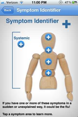 Focusing on the areas flu symptoms occur, the app also has a symptom identifier, which allows users to determine what to expect.