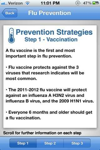 Prevention strategies help users to safeguard themselves from the flu.
