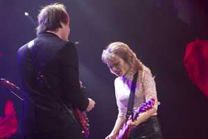 Ed Sheeran, who opened for Swift, joined her on stage.