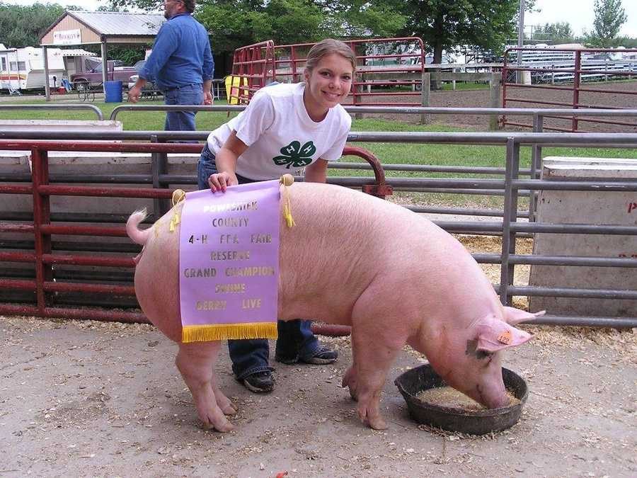 """In high school, I filled my time with cheerleading, speech and drama, cross-country and best of all 4-H. Believe it or not, pigs are pretty lovable!"""