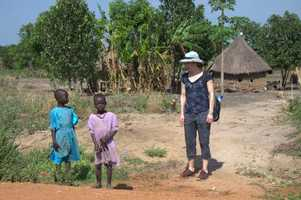 Julie with the village kids
