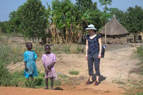 Julie with the village kids