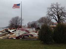 Damage near North Bend, Neb., from a storm early Tuesday morning.