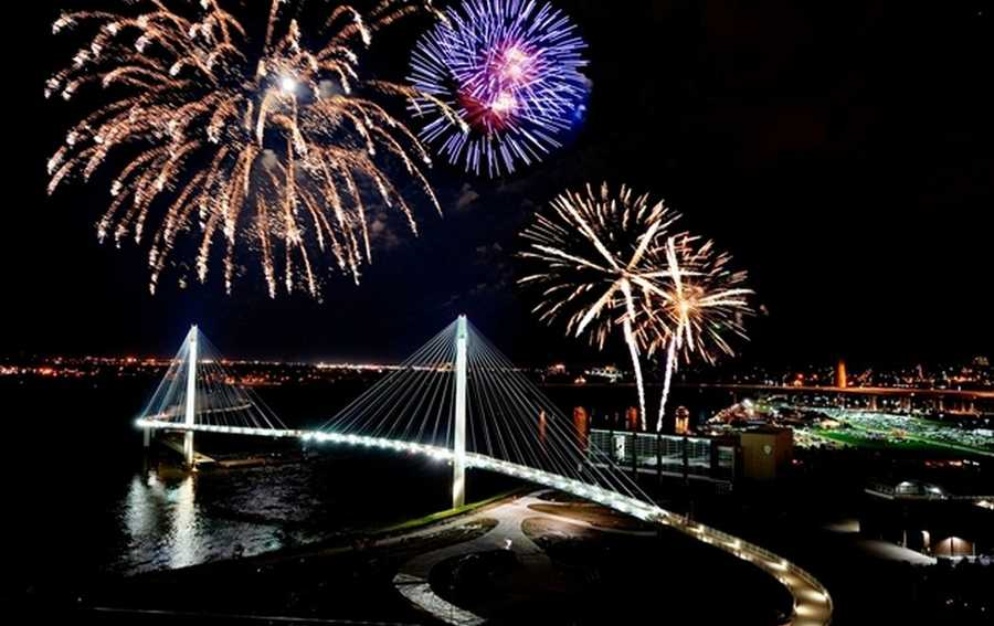 """Her favorite Omaha landmark is the Bob Kerrey Pedestrian Bridge. """"Have you ever been on it when it's lit up at night? Calming, but beautiful view of the city!"""""""