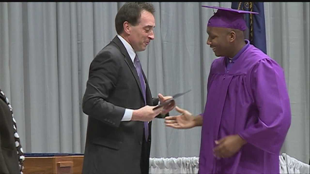A 17-year-old battling leukemia walks across the stage at graduation.