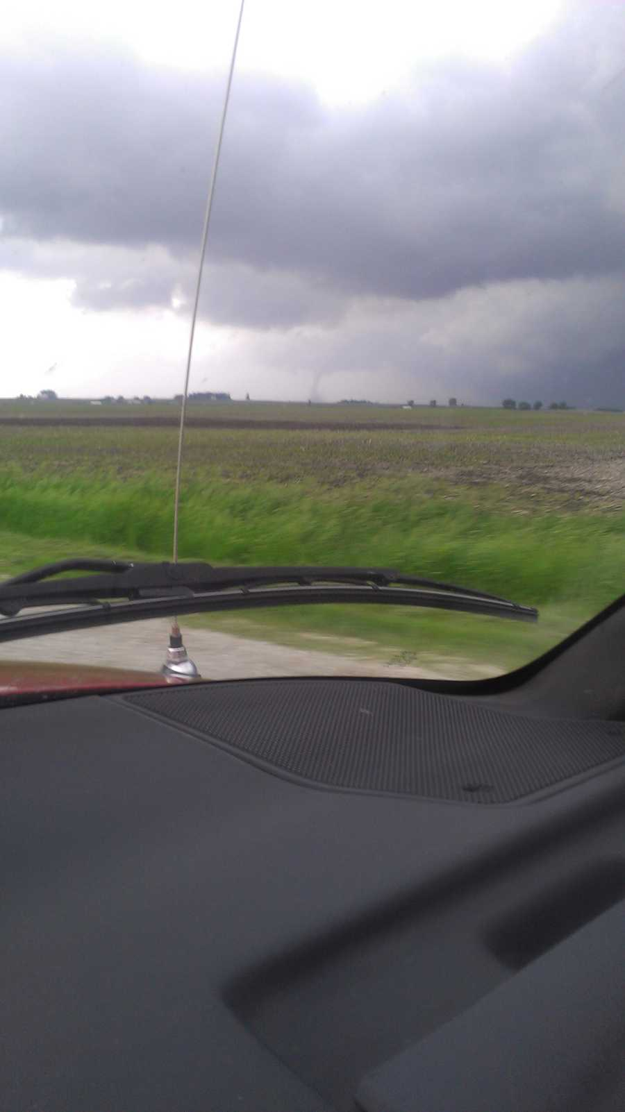 """View of tornado this afternoon from Hwy 3 west of Hampton."""