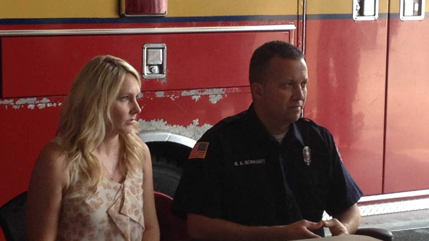 Firefighter Brock Borhart spoke publicly for the first time since Monday's shooting in the back of an ambulance.