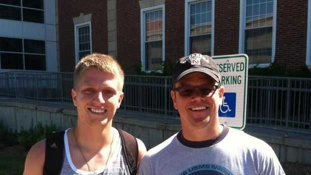 Cory Foland posted this photo of himself and Matt Damon on Twitter on Wednesday.