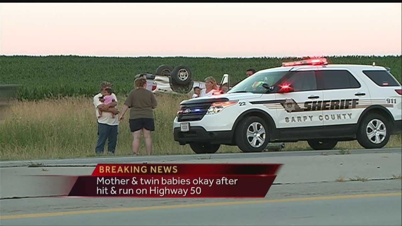 According to police, a truck sideswiped a car about a mile south of 370 sending the driver and her babies into a ditch Sunday night.
