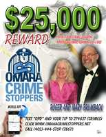Dr. Roger and Mary Brumback seen on an Omaha Crime Stoppers poster.