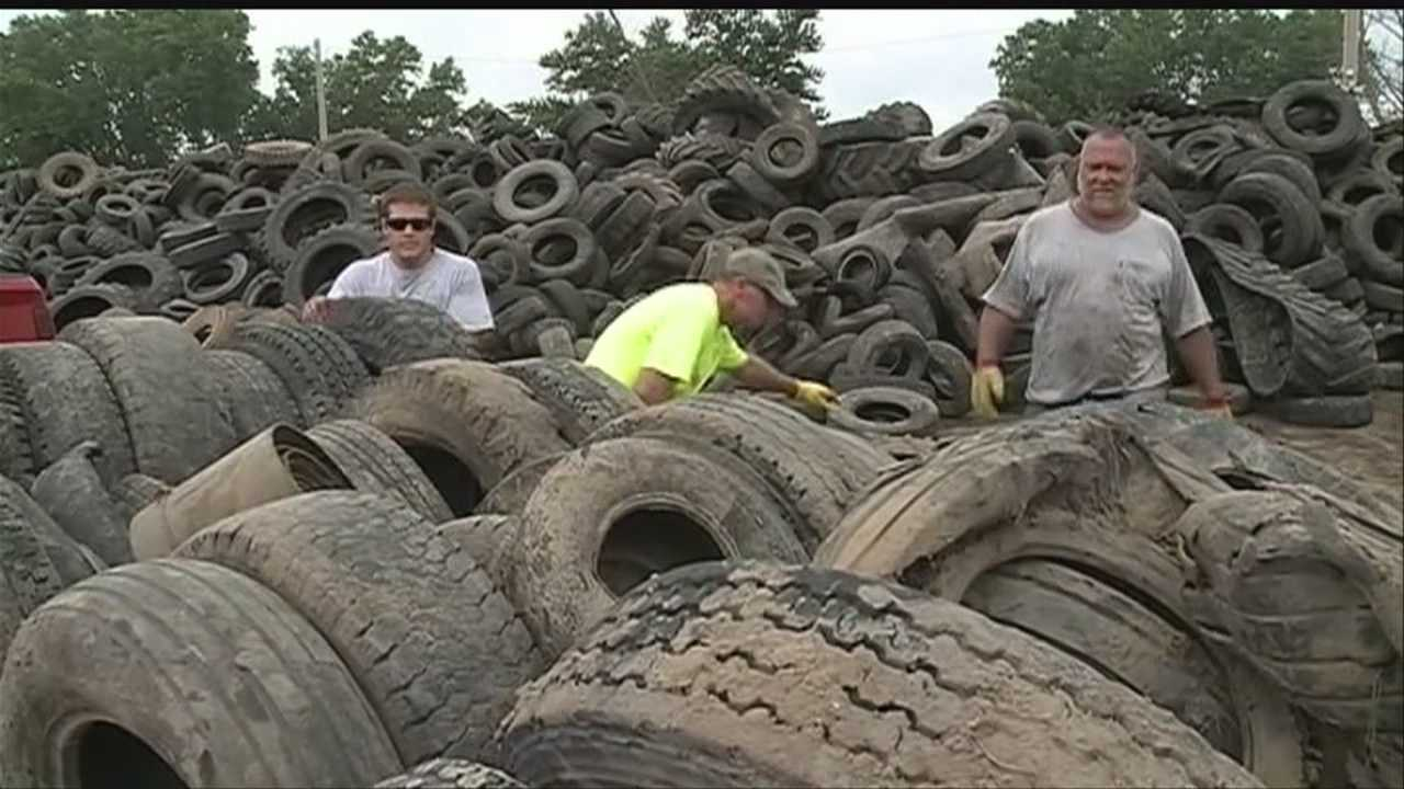 Hundreds of farmers and residents got rid of old tires at the Washington County Fairgrounds in Arlington on Friday.