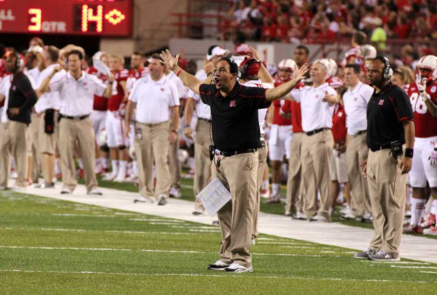 Husker defensive coordinator reacts to a call he didn't like from the sideline.