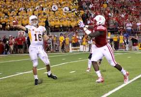 Nebraska senior Jason Ankrah applies pressure.