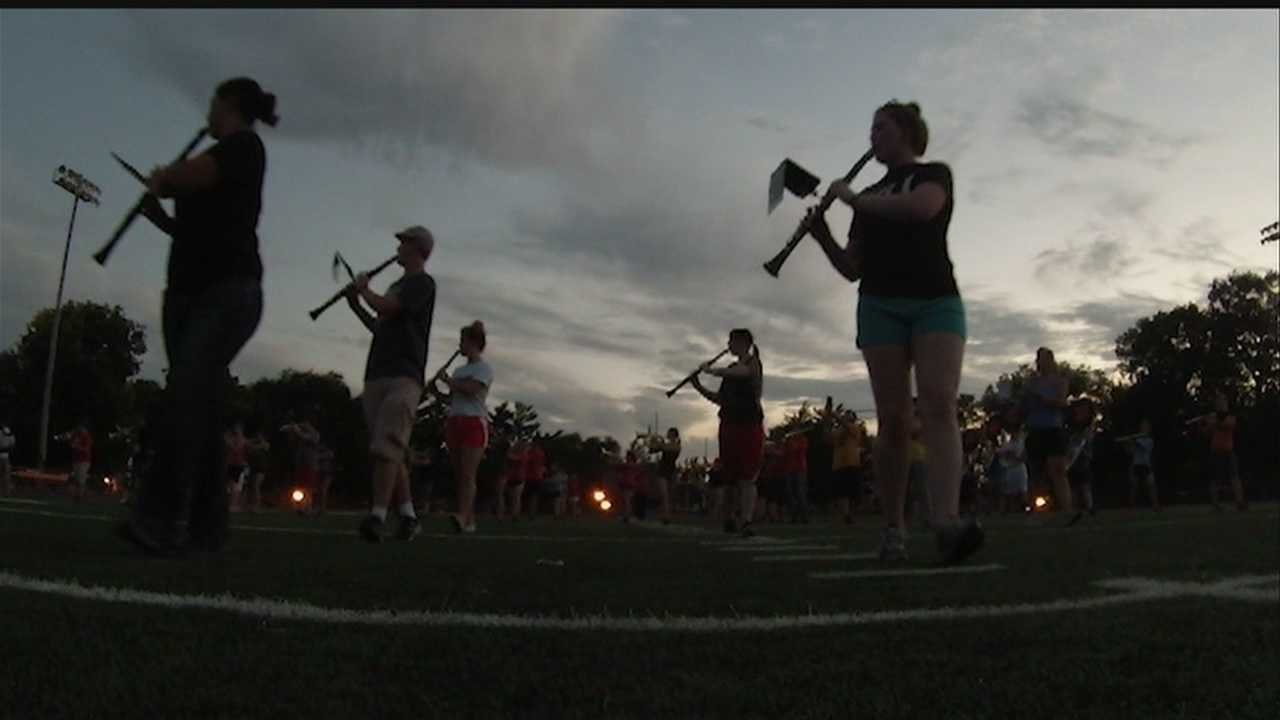The Doane College marching band will once again be in step, dazzling its football fans with choreographed formations and the school's fight song.