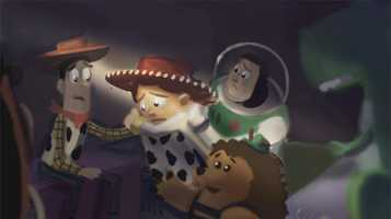 """Once the storyline for a sequence is completed, concept art is created by the Production Designer and artists to determine the look and feel of the film. This concept art piece was drawn by artist John Lee and showcases the exploration of color and the design of new characters and new environments. Disney/Pixar's first special for television, """"Toy Story OF TERROR!,"""" a spooky new tale featuring all of your favorite characters from the """"Toy Story"""" films"""