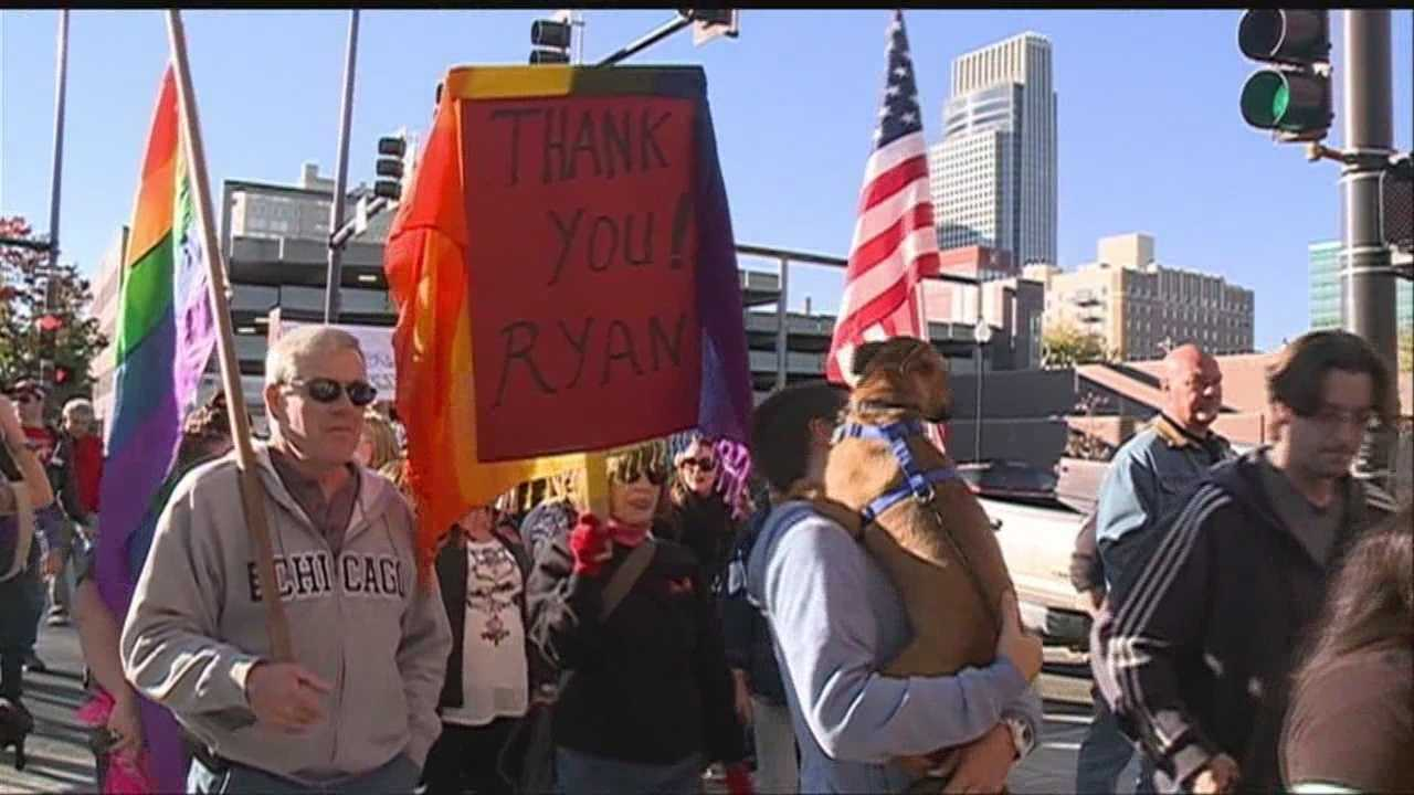 One week after an Old Market assault, LGBT rights supporters rallied in support of the victim.