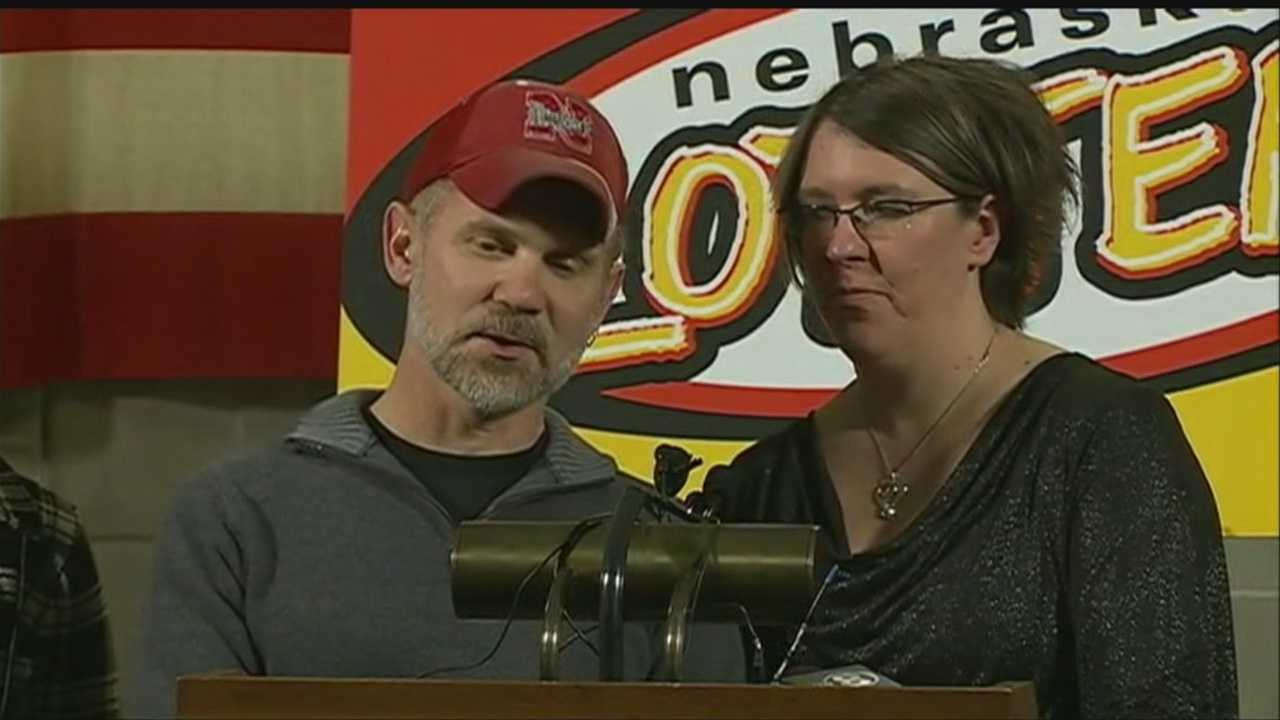 Nebraska Gov. Dave Heineman introduced the recent winners of a recent Powerball jackpot on Tuesday afternoon.