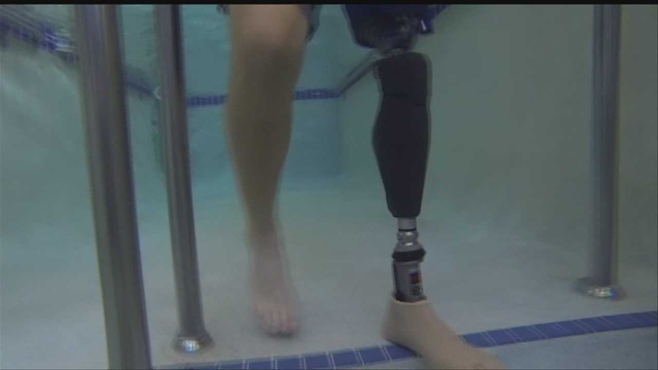 A Nebraska amputee is one of the first civilians to be fitted with a high-tech, waterproof prosthetic leg developed by the military.