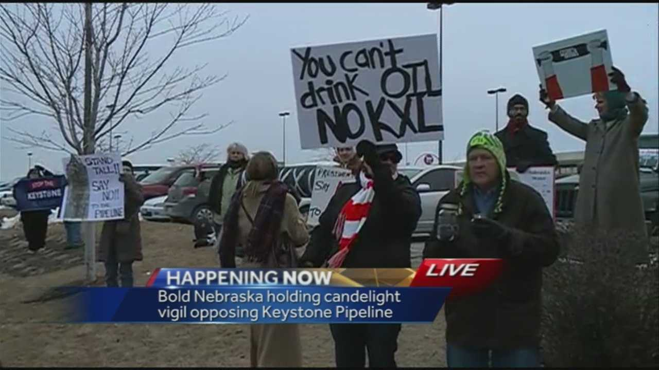 Those who gathered at 72nd and Dodge on Monday hope the president rejects the Keystone XL Pipeline.