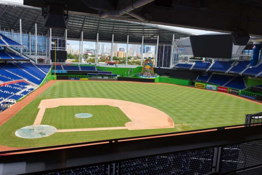 Marlins Park, home of the Miami Marlins --$250 for message displayed on scoreboard and couple featured live on video --$500 package includes a PA announcement and a dozen roses delivered by Billy the Marlin, the team's mascot.
