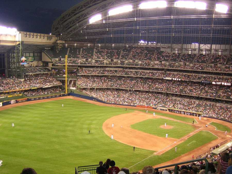 Miller Park, home of the Milwaukee Brewers --$100 for single-line message displayed among others on scoreboard --$250 for full scoreboard message.