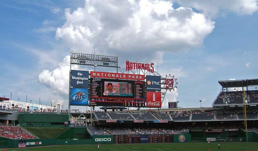 Nationals Park, home of the Washington Nationals -- $500 for message displayed on scoreboard --$1,500 for proposal featured live on video board.