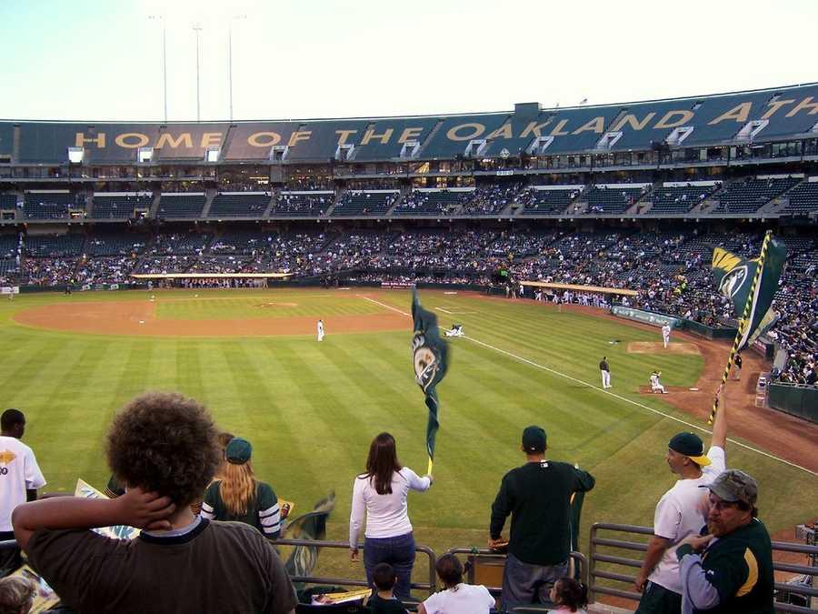 O.CO Coliseum, home of the Oakland Athletics --$85 for messagedisplayedon scoreboard.