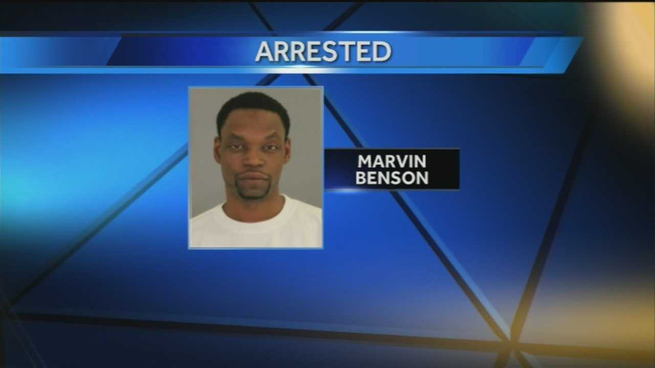 The father of 5-year-old Payton Benson is accused of punching, kicking and beating a woman with a broom and cellphone.