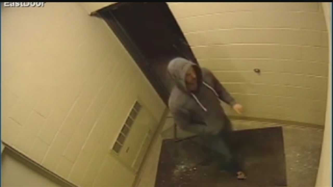 Surveillance video caught a man trying to break into the Omaha Chamber of Commerce on Feb 2.