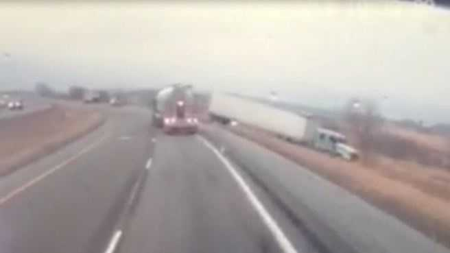 A distracted truck driver crashing on Interstate 29.