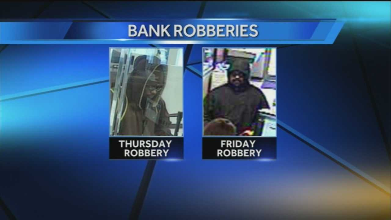 The suspects look similar but Omaha police said these two bank robberies may not be connected.