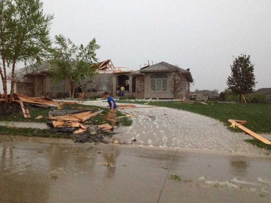 Damage to a home in Elkhorn