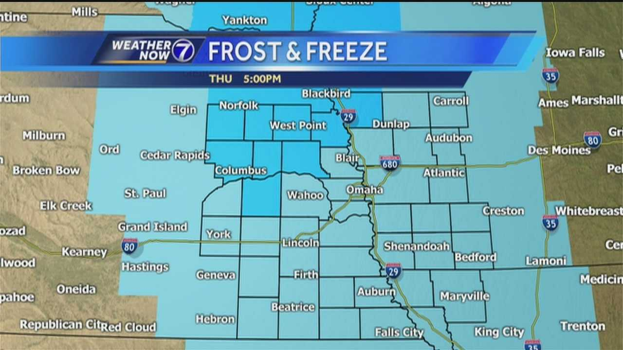 A Frost Advisory is in effect for much of the viewing area including the Omaha-Council Bluffs area late Thursday into Friday morning.