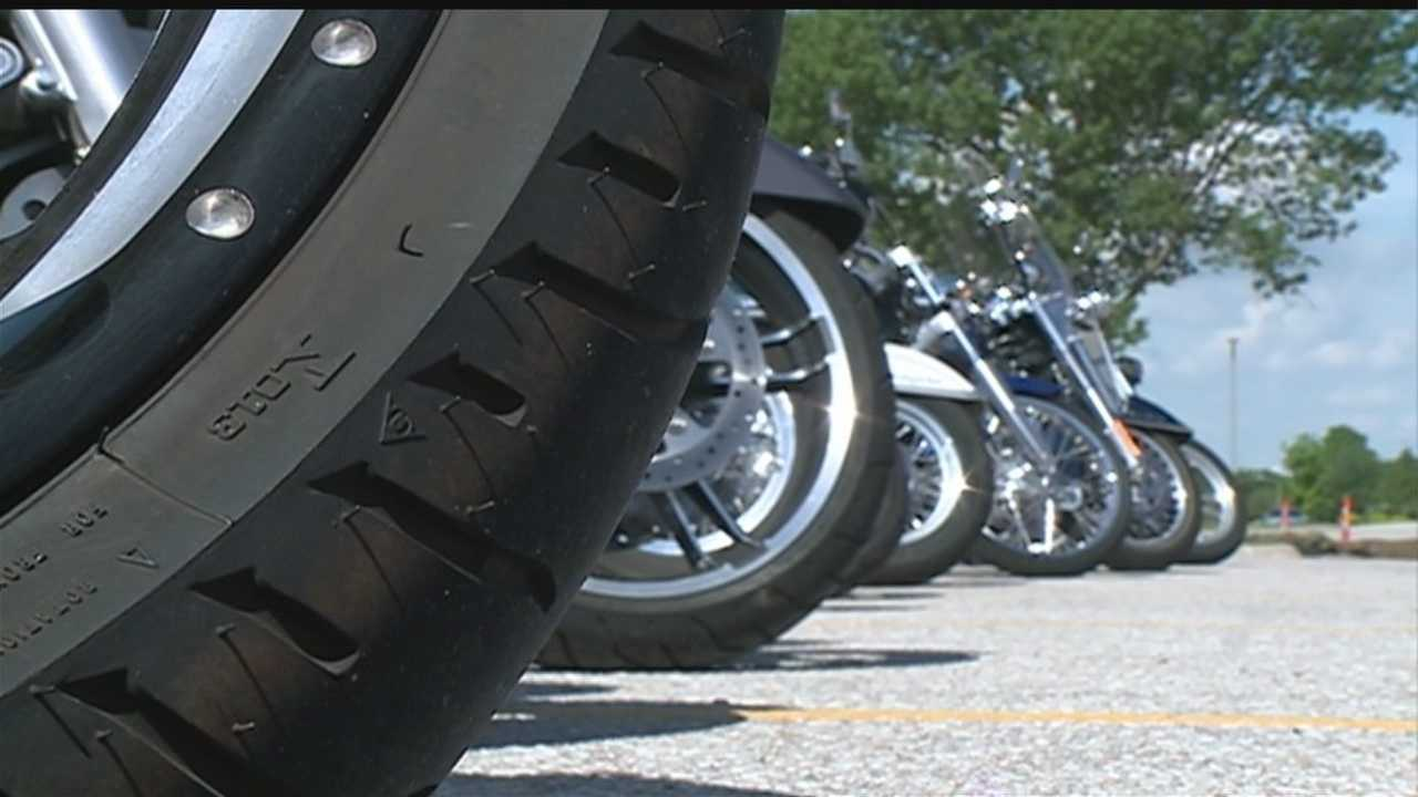 Nearly one hundred bikers show up to show support at Preston Turner's funeral