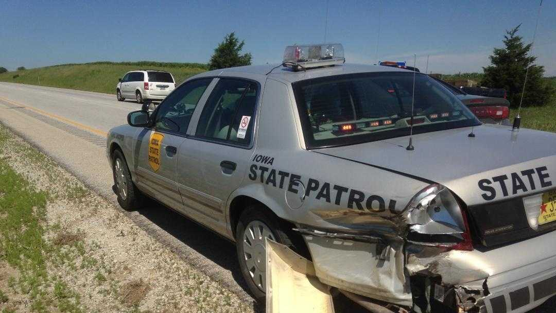 Trooper hurt when semi rear-ends cruiser