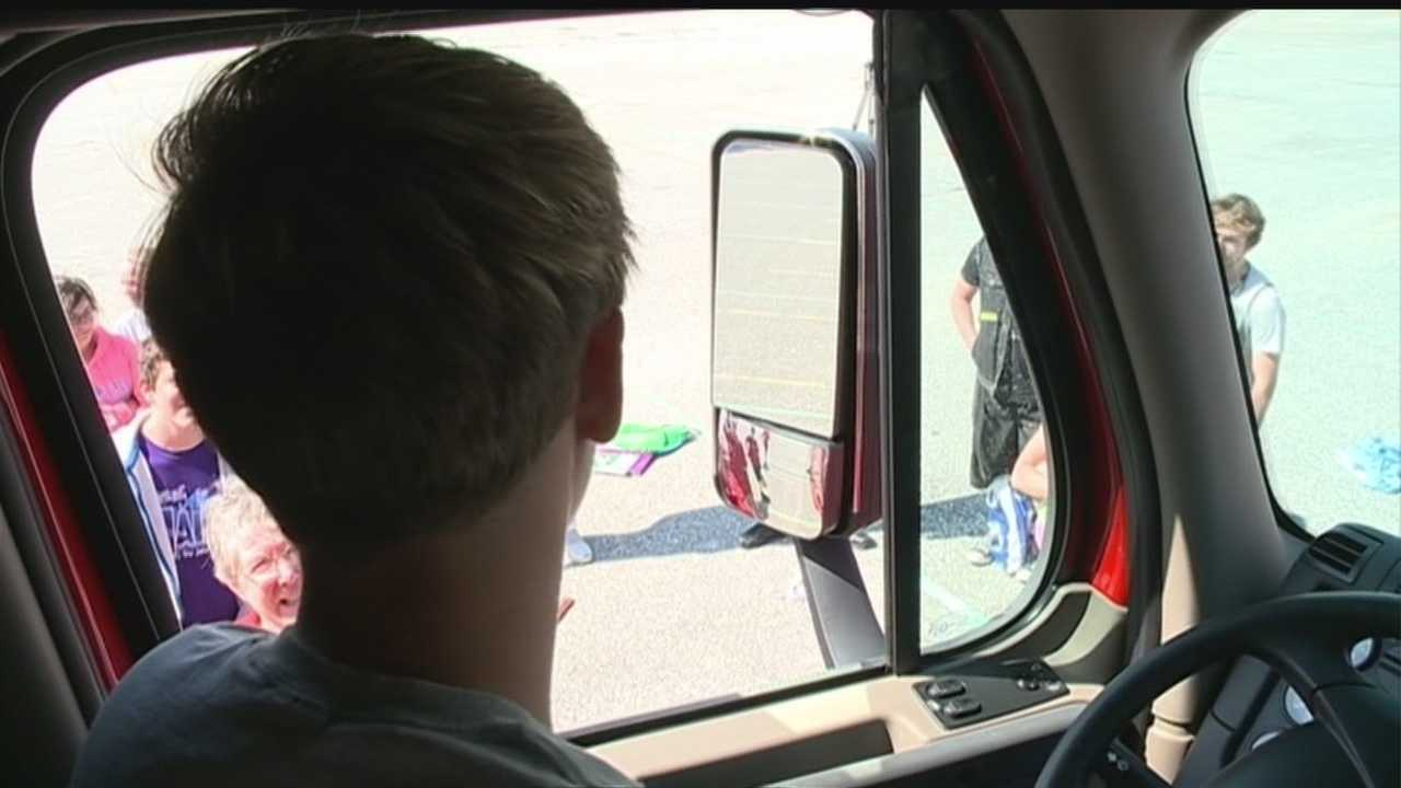 Student drivers got a special demonstration this week on how to share the road the massive semitrailers hauling big loads.