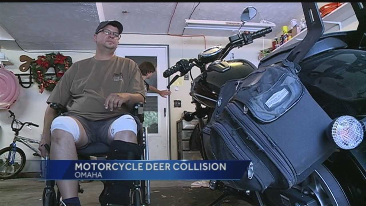 An Omaha man and his wife hit a deer on their motorcycle and live to tell about it.