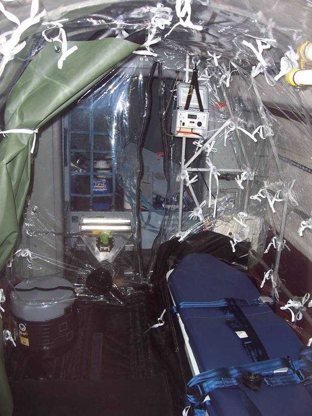 The pod, officially called an Aeromedical Biological Containment System, is a portable, tent-like device that ensures the flight crew and others on the flight remain safe from an infectious disease.
