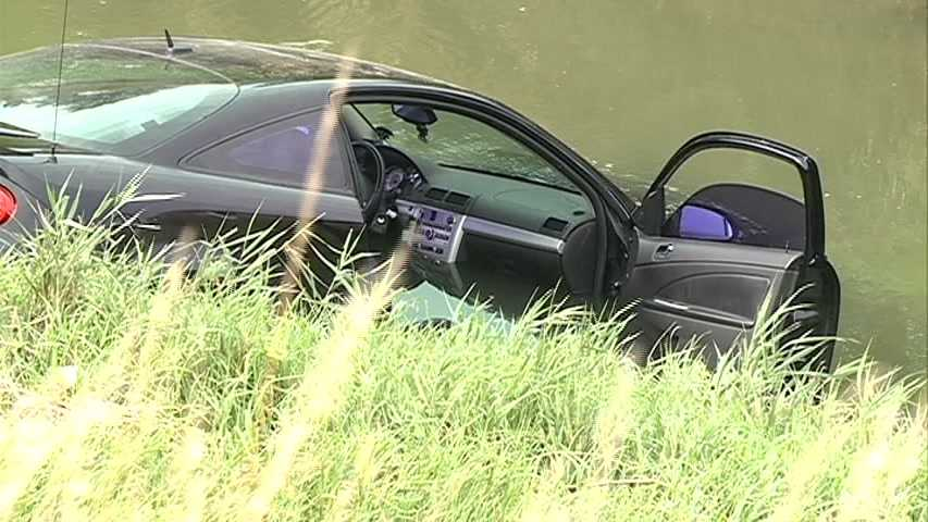 The driver told police he blacked out and ended up in Cole Creek near 78th and Western around 9:45 a.m. Tuesday. He was not hurt.