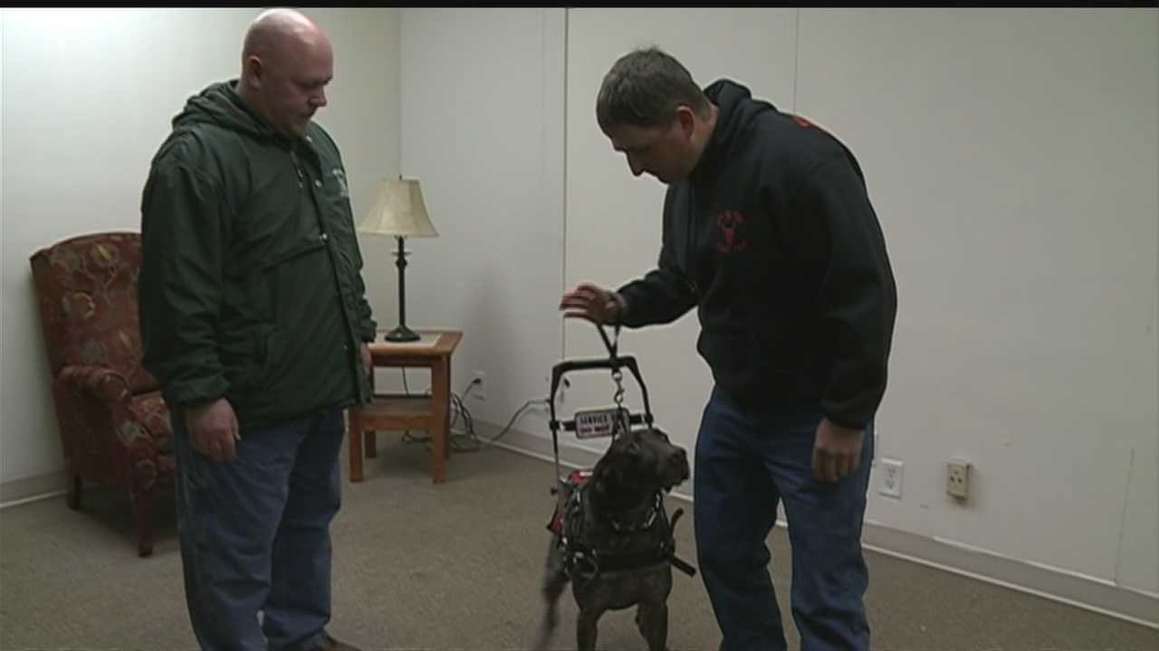It's been four years since a roadside bomb nearly killed an Iowa veteran. Now, he relies on a service dog to walk, and the trainer wants to help even more disabled veterans.