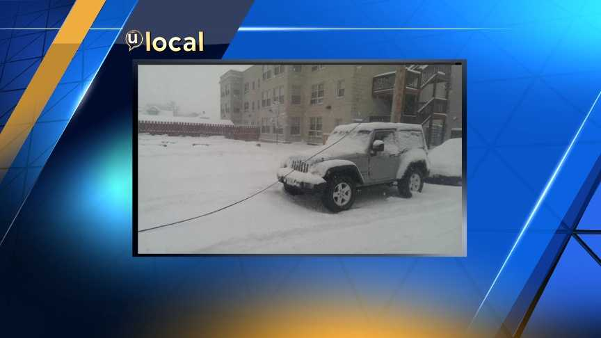 Power line fell over a Jeep parked near 30th and Marcy Streets
