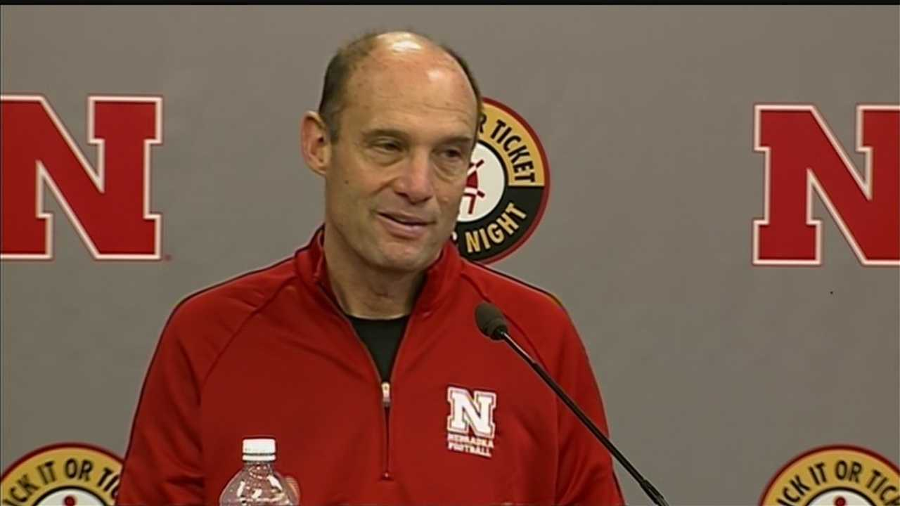 Huskers' Riley talks with reporters on National Signing Day