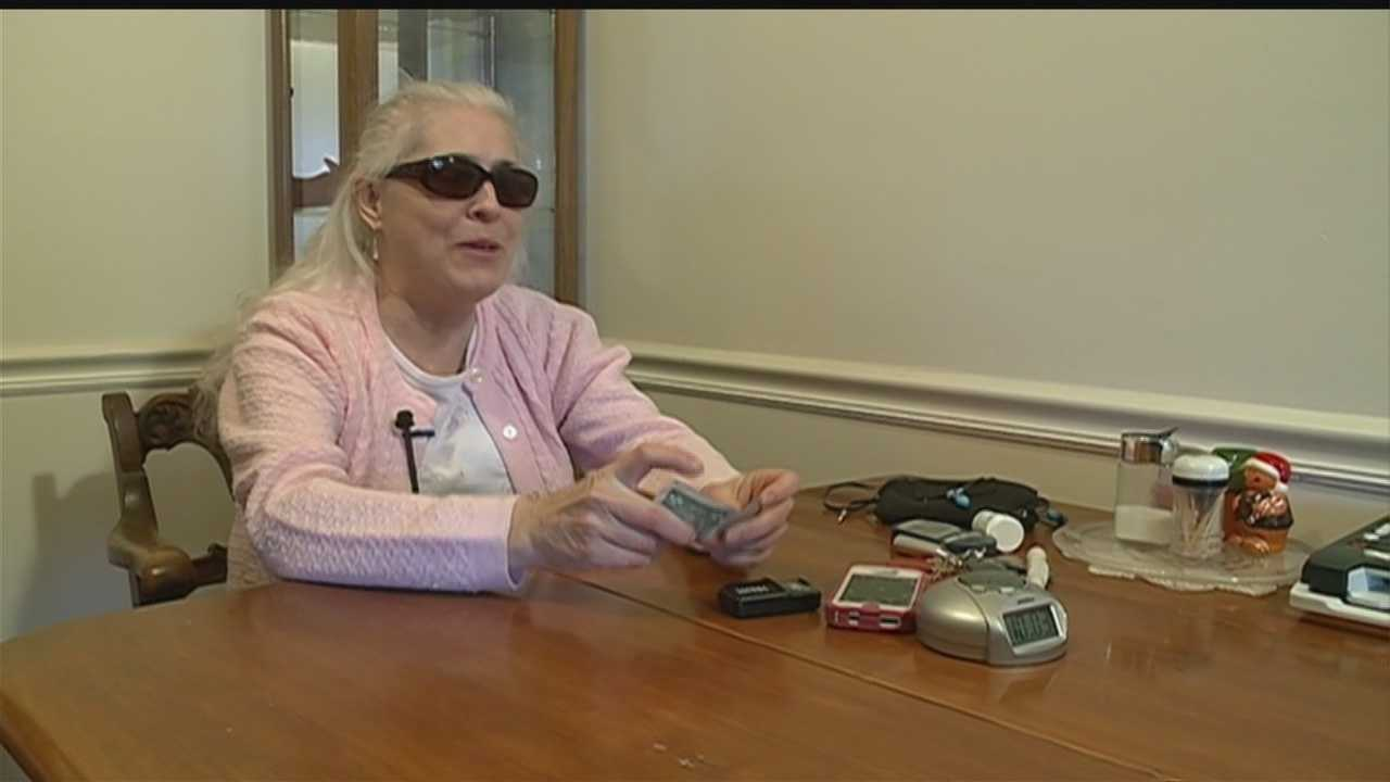 A battery-operated iBill currency reader can fit into most pockets or hang on keychains. It can speak, beep or vibrate the value of U.S. currency within seconds. For women like Cindy White, who has been blind for 20 years, it's making a world of difference.
