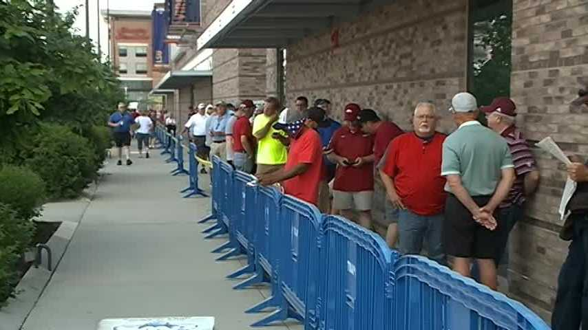 Hundreds lined up this morning around TD Ameritrade Park to get tickets for this weekends College World Series Games.