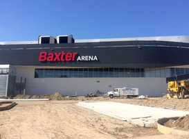 Both signs outside of Baxter Arena are up. It will officially open with the first UNO hockey home game on Friday, Oct. 23, as the defending NCAA Midwest Regional Champions take on Air Force.